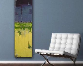 original abstract modern painting - THE NeTWORK - gallery fine art original - contemporary interior design - ooak home wall decor - purple grey yellow green geometric grid