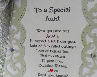 To a Special Aunt, Keepsake Card, New Neice, New Aunt, Aunty, Congratulations, New Baby