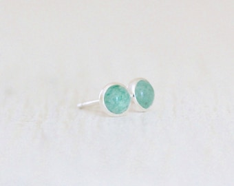 4mm Aventurine Stud Earrings - Tiny Drop of Color Posts with 4mm Stones Set in Silver - MADE to ORDER