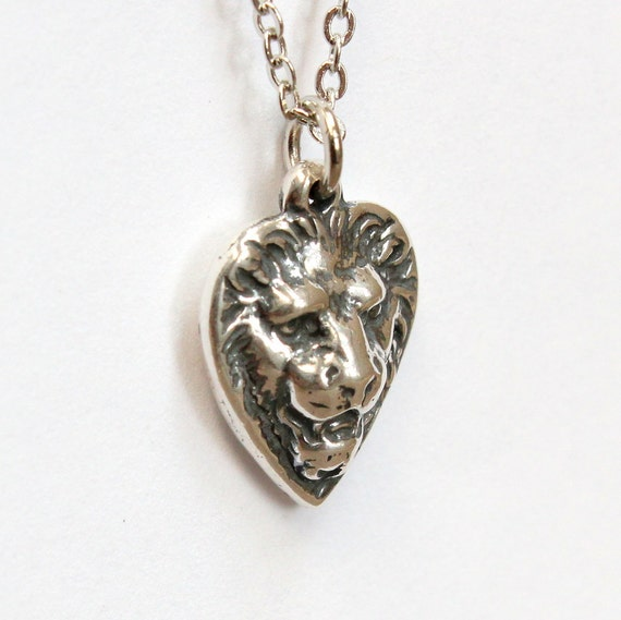 Lionheart Pendant Petite lion heart necklace in solid sterling silver courage like this item audiocablefo