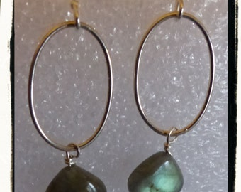 Labradorite and Sterling Silver Earrings ~ Incredible Flash ~ Gift Idea ~ Treat Yourself