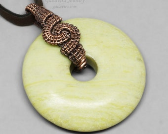 Copper and Peridot Jasper Donut Pendant Necklace - CLEARANCE