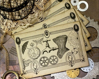 Steampunk Card Post Card Style Set of 4