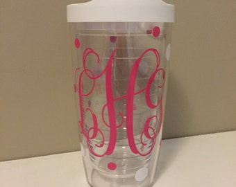 Monogrammed 16 oz. Tervis Tumbler with Polka Dots