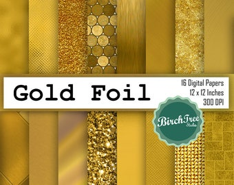Gold Glitter and Foil Digital Paper - Gold Textures - Gold Backgrounds - Gold Glitter Backgrounds - Gold Patterns - Instant Download
