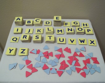 Scrabble Junior Cardboard Letter Tiles and Triangle Pieces-Crafters-Scrapbooking-229 Total Pieces
