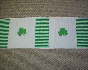 """Marked Down 10% - Quilted Table Runner - St. Patrick's Day Stripes with Appliqued Shamrocks - 42"""" Long"""