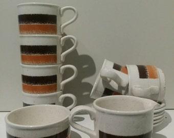 Retro/Orange/Brown/Cream Biltons Coffee Set-Made in England