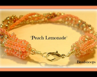 Peach Lemonade...Kumihimo beaded bracelet