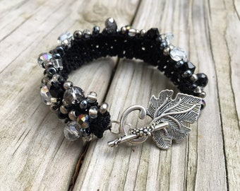 Handmade, Bracelet, Crocheted, Black and White, Beaded, Statement, Wide, Leaf, Toggle, Crocheted, Cuff, 7.5 inches