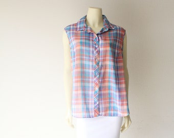 80's Vintage Paper Thin Pastel Plaid Sleeveless Button Down Top