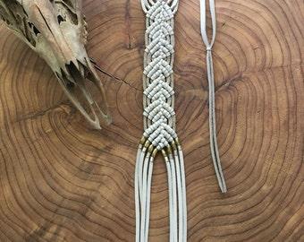 Leather Macramé Fringe Necklace