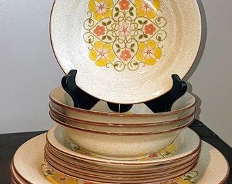Vintage, 1970's, Mikasa Japan, Gallery, Dinnerware set for four, Yellow and orange flowers, green leaves, vintage dinnerware