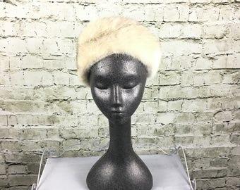 Vintage White Genuine Fox Fur Hat