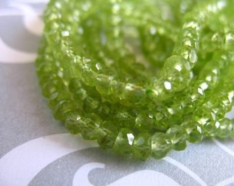 Shop Sale..PERIDOT RONDELLES Beads, Luxe AAA, Full Strand, 3-4 mm, Granny Apple Green, faceted, August birthstone, wholesale