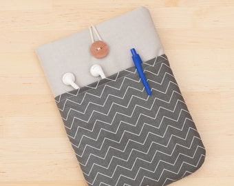 ipad mini sleeve / iPad mini 2 case / ipad mini 3 cover - chevron charcoal -