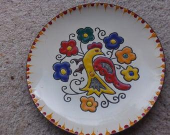 Vintage enamel dish, folk art ,Greek enamel dish, 1970s