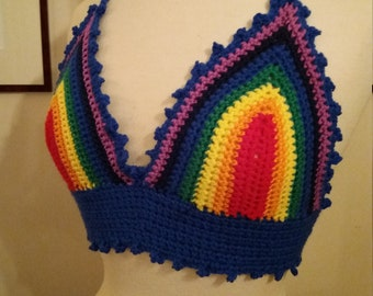 Hand crochet rainbow crop or bikini top. Great Festival wear. Pride! Size Medium.