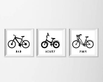 Personalized Bike Wall Art Printable, Family Wall Art, Mama Daddy Black White Artwork, Name Nursery Art Toddler Boy Art, Personalized Gift