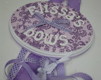 Purple on Lavender Damask Bow Holder with Curled Ribbon