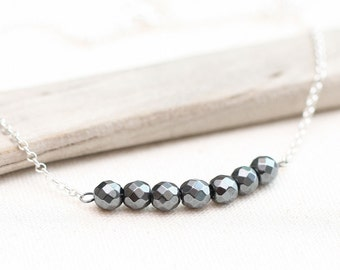 Hematite Necklace, Sterling Silver Necklace, Sterling Silver Gemstone Necklace, Gift for Her, Layering Necklace