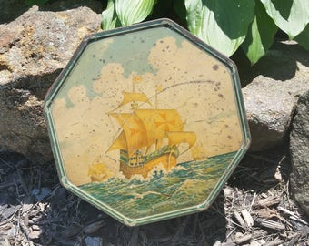 Vintage Loose Wiles Biscuit Company Tin with Nautical Theme