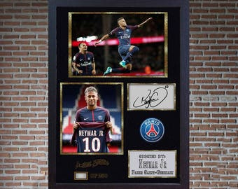 Neymar JR Paris Saint Germain Brazil print signed autograph Framed photo