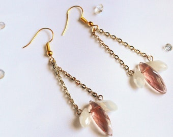 Pale Pink Droplet with Chain Earrings