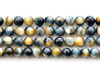 """Natural 5A Yellow Blue Tiger's Eye Stone Gemstone Round Beads 15"""" 6mm 8mm 10mm 12mm"""