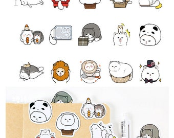 White Cat Stickers Pack SM232432 45pcs