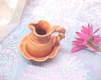 Mini Pottery Peach Pitcher Bowl Set Hand Turned Fluted Bowl Twirled Handle Pitcher Anita Pottery