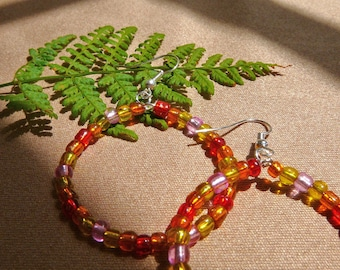 Sweet Multicolored Beaded Hoop Earrings: Red, Orange, Yellow, and Pink - Perfect Easter Basket Gift, Gift for Her, Gift for Girlfriend!