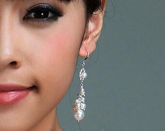 Pearl Bridal Earrings,Sterling Silver Wedding Earrings,  Ivory White Swarovski Pearls Rhinestone Cluster Bridal Earrings,bridesmaid earrings