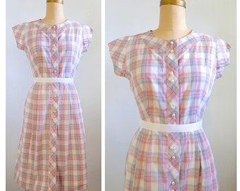 Pink plaid parfait | 1950s pink, white and grey plaid dress | 50s plaid day dress