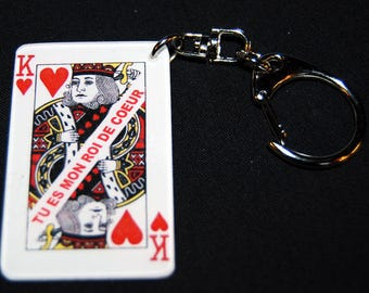 "Keychain card playing King of hearts with message ""You are my King of hearts"""