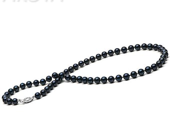 Necklace 40 cm of black culture to Japan 6 - 6.5 mm Akoya pearls