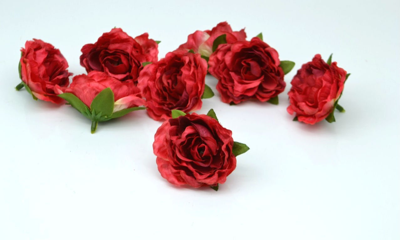 Artificial Flowers Red Flowers Faux Roses Flower Head Small