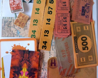 Orange ephemera pack collage pack scrapbooking  art mixed media 33 pieces O33