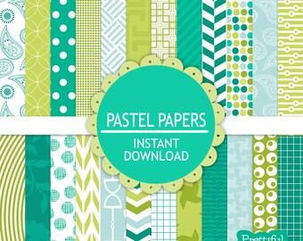 Teal Digital Scrapbooking Printable Paper Pack Coastal