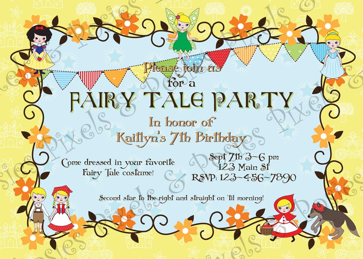 Fairy Tale Party Custom Printable Invitation Birthday
