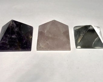Set of 3 Small Crystal Pyramids of Various Stones