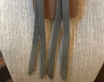 Grey leather fringe earrings