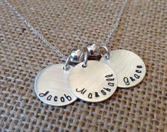 Personalized Kids Name Necklace, Custom Mom Necklace, Grandma Necklace, Birthstone Necklace, Stamped Evermore, Sterling Silver Name Charms