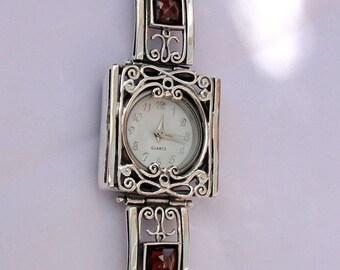 NEW Israel Original Handmade Fine Silver Filigree Garnet Bracelet Watch (s w3905)