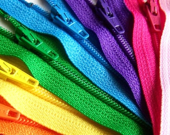 5 Inch Rainbow Zipper Sampler (10) ykk purse and pouch zippers