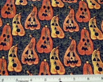 "Fat Quarter Halloween Fabric Assorted Jack-O-Lanterns Allover on Black and Orange ""Halloween Spirit"" #5984 - Springs Global, US, Inc. - OOP"