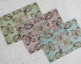 Miniature Shabby French  Rug  for Dollhouse in Your Color Choice