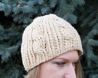 Winter Hat / Crochet Cables / ready to ship/ cream / off- white/ beanie / gift