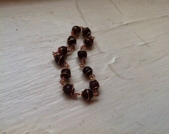Garnet & Copper Twist Bracelet
