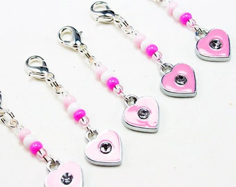 Girls Party Favors. Sweet Pink Beaded Heart. Girls Heart Charms. Birthday Party Favour. BSC037